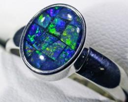 Aussie Opal mosiac  Triplet  in silver Ring PL 1355