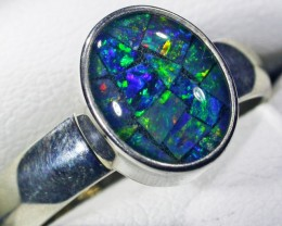 Aussie Mosaic  Opal Triplet  in silver Ring PL 1359