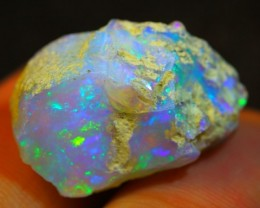 14.98Ct PinFire Color Play Ethiopian White Welo Opal Rough