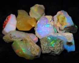 37.73Ct Bright Color Play Ethiopian White Welo Opal Rough Lot