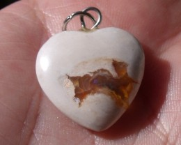 13.0 Ct. Mexican cantera fire opal Cabochon Heart pendant