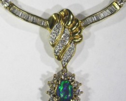 18K STUNNING PENDANT WITH BLACK OPAL  [SOH]