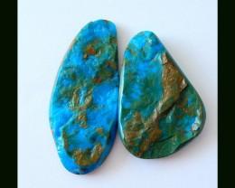 2 PCS Nugget Blue Opal Gemstone Cabochons,49.5 CTS