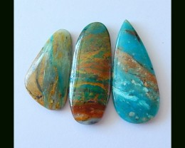 3 PCS NATURAL BLUE OPAL GEM STONE CABOCHONS