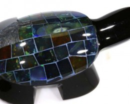 230 CTS BLACK OPAL INLAY TURTLE LO-3201
