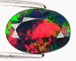 1.33 Cts Smoked Multi Color Play Ethiopian Black Opal Oval Faceted