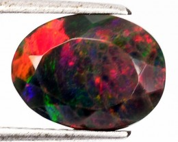 2.91 Cts Smoked Multi Color Play Ethiopian Black Opal Oval Faceted