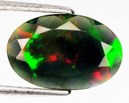 1.70 Cts Smoked Multi Color Play Ethiopian Black Opal Oval Faceted