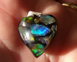 Mexican Natural Fire Opal in Mosaic Acrylic Heart Pendant