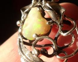 Ethiopian Opal gem taxco silver ring sz 7