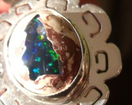 Mexican opal crystal inlaid  in Matrix gem silver pendant