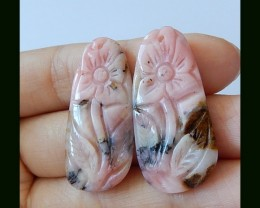 33.5 ct Pink Opal Flower Carving Beads Pair