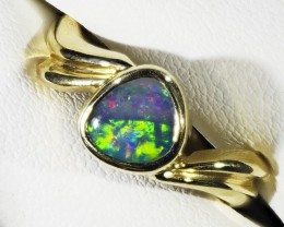 BoulderOpal set in 18k Gold Ring Size 7.5  A 832
