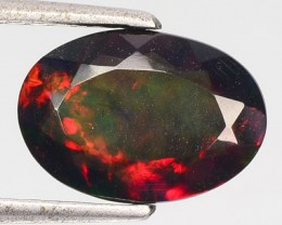 1.80 Cts Smoked Multi Color Play Ethiopian Black Opal Oval Faceted