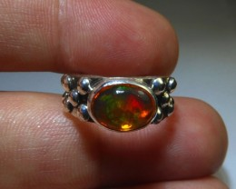 Sz 5 Natural Mexican Opal .925 Silver Taxco Handmade Boho Ring Jewelry
