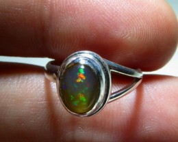 Sz 5.25 Natural Mexican Opal .925 Silver Taxco Handmade Boho Ring Jewelry