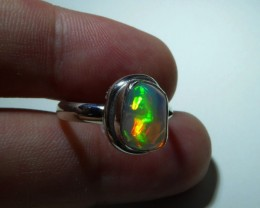 Sz 8 Natural Mexican Opal .925 Silver Taxco Handmade Boho Ring Jewelr8