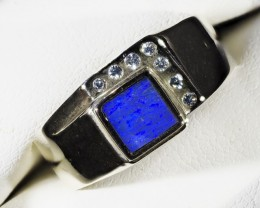 MENS  OPAL 18K GOLD RING SIZE 10 A840A WITH 7 DIAMONDS