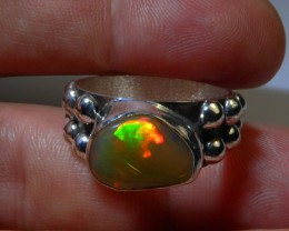 Sz 9 Natural Ethiopian Opal .925 Silver Taxco Handmade Boho Ring Jewelry
