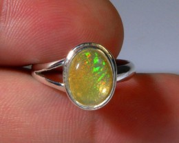 Sz 7 Natural Mexican Opal .925 Silver Taxco Handmade Boho Ring Jewelry