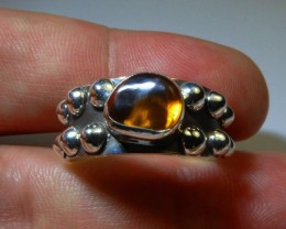Sz 10 Natural Mexican Opal .925 Silver Taxco Handmade Boho Ring Men's Jewel