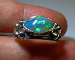 Sz9 Sterling .925 Silver & Solid Opal High Quality Handmade Ring