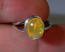 Sz 8 Natural Mexican Opal .925 Silver Taxco Handmade Boho Ring Jewelry