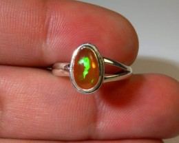 Sz 7.5 Natural Mexican Opal .925 Silver Taxco Handmade Boho Ring Jewelry