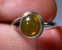 Sz 5.5 Natural Mexican Opal .925 Silver Taxco Handmade Boho Ring Jewelry
