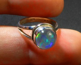 Sz 5.75 Natural Mexican Opal .925 Silver Taxco Handmade Boho Ring Jewelry