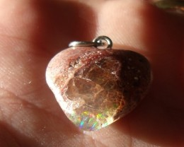 10.0 Ct. Mexican cantera fire opal Cabochon Heart pendant