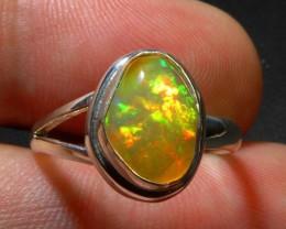 Sz 7 Natural Ethiopian  Opal .925 Silver Handmade Quality Ring