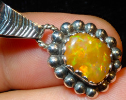 12.56ct Natural Ethiopian Welo Opal .925 Sterling Silver