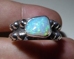 Sz 12 Natural Ethiopian Opal .925 Silver Taxco Handmade Boho Ring Men's Jew