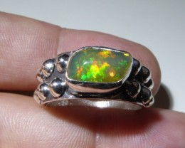 Sz 10 Natural Ethiopian Opal .925 Silver Taxco Handmade Boho Ring Men's Jew