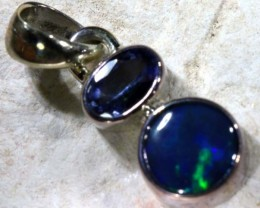 BLACK SOLID OPAL SILVER PENDANT   7   CTS  OF-1135