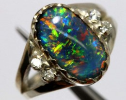 TRIPLET OPAL SILVER RING 23 CTS OF-1142