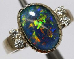 TRIPLET OPAL SILVER RING 21.20 CTS OF-1146