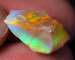 10.25Ct Neon Color Play Ethiopian Welo Solid Crystal Opal Rough