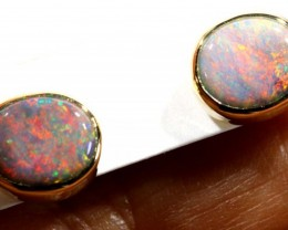 BLACK OPAL GOLD EARRINGS  8.10  CTS    OF-1163