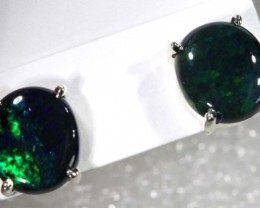 BLACK OPAL SILVER  EARRINGS 8.15  CTS    OF-1165