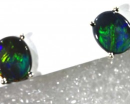 BLACK OPAL SILVER  EARRINGS 4.20   CTS    OF-1167