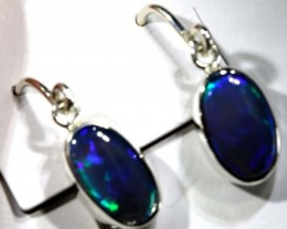 BLACK OPAL SILVER  EARRINGS 12   CTS    OF-1168