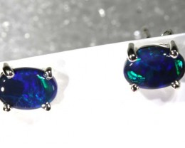 BLACK OPAL SILVER  EARRINGS  5  CTS    OF-1170