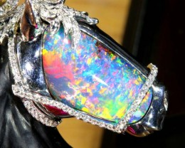 BEAUTIFUL HORSE IN BLACK OPAL GOLD PENDANT 147   CTS  GC