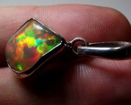 Gypsy Bohemian .925 Solid Ethiopian Fire Opal Pendant Boho Crystal Gem