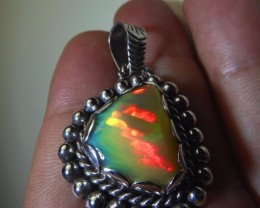 Large Ethiopian  .925 Silver Solid Opal Pendant Crystal Gem