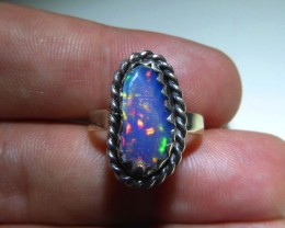 Sz 6.5 Natural Ethiopian Opal .925 Silver Taxco Handmade Boho Ring  Jew