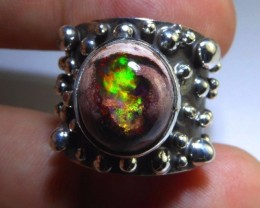 Sz 6.5 Natural Mexican Matrix  Opal .925 Silver Taxco Handmade Boho Ring Me