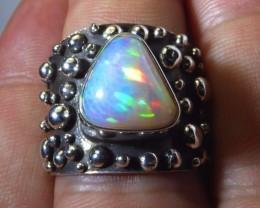 Sz 9 Natural Ethiopian Opal .925 Silver Taxco Handmade Boho Ring  Jew